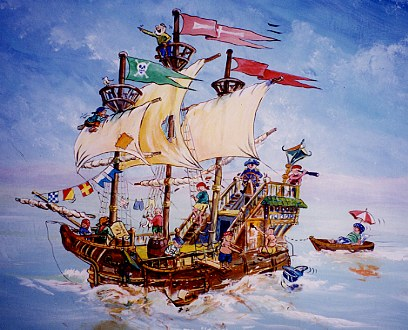 Wonderful Mural Of Pirate Ship.  Part 28
